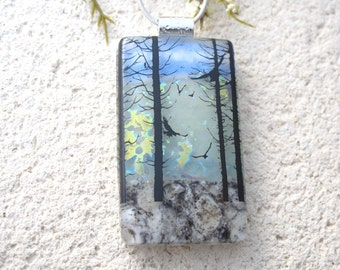 Birds in Forest,Tree Scene, Dichroic Pendant, Necklace Included, Forest Necklace, Dichroic Jewelry, Fused Glass Jewelry,  080816p102