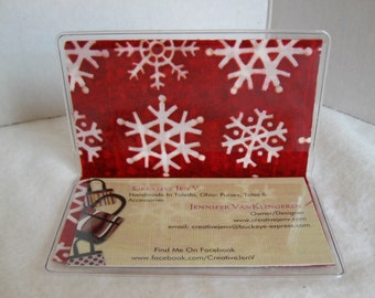 Snowflake Business Card Holder - Snowflakes on RED - Snow Biz Card Case - Vinyl Business Card Holder - Snowflake Card Case - Gift Card Case