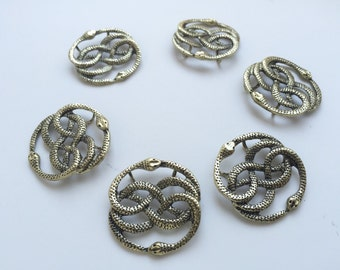 6 Golden Brass Auryn Neverending Story Snake Pendants - Fantasy Charms