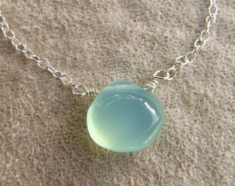 Simple Silver Gemstone Necklace Dainty Aqua Blue Chalcedony Gemstone Sterling Silver Layering Necklace Unique Pendant