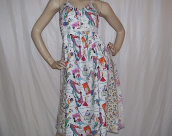 Sewing Party Dress OOAK Sundress She Sews Patchwork Hippie Fun Gift A-line Sewing Vintage Humor Cruise Resort Sundress Adult Free Size S M L