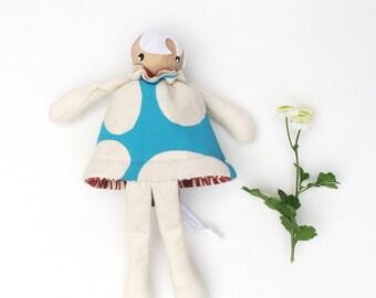 Flip Doll- screen printed felt organic cotton wood blue bird