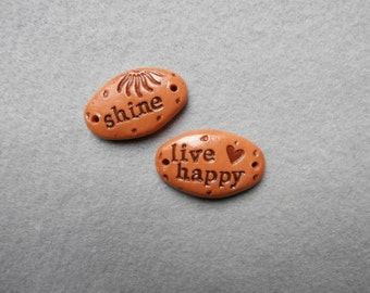 Word Beads/2-Hole Word Connectors/Bracelet Components - Shine, Live Happy