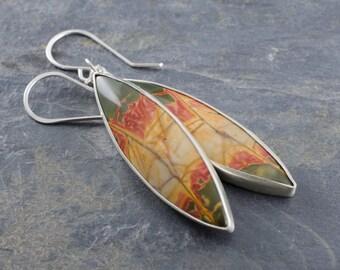 Cherry Creek Jasper Sterling Silver Marquis Earrings. Gemstone Earrings. Cabochon Marquis Earrings.