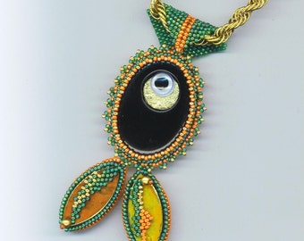 Beadwoven Black Oval Onyx Fish Pendant . Beadwoven Fish/ Pisces. Nautical Sea World. Freeform OOAK - Pisces Zodiac by enchantedbeads on Etsy