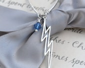 Lightning Bolt Necklace with Sterling Silver Swarovski charm - your choice of color