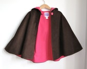 Chocolate Corduroy Girls Warm Winter Hooded Cape with Hot Pink Flannel Lining - Size 7/8 - Cape, Cloak, Coat, Jacket, Capelet, Hoodie