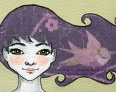 Emma - Original ACEO illustration - Miniature art card - Mixed media original girl with purple hair