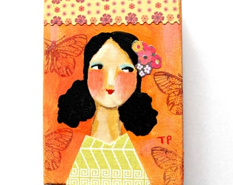 ORIGINAL acrylic painting Happy New Year Girl Orange fresh art for 2016 mixed media collage portrait painting ACEO mini art by Tascha
