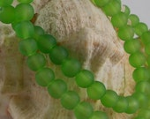 6mm Sea Glass Beads Smooth Round Frosted Matte Green (Qty 15) Z-SG6-G