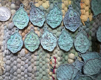 Oxidized Bronze Thai Buddha Amulet Pendant Scalloped Verdigris Patina