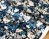 Japanese Fabric rayon linen blend - floral blue - 50cm