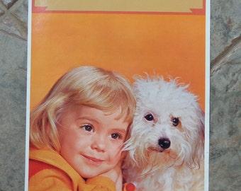Vintage 1960's Salesman Sample Calendar Color Litho Photo Print Girl & Dog