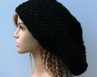 Black slouchy hemp dread tam, pure rustic hemp Hippie Bohemian slouchy beanie, dreadlocks, woman slouchy hat, man beanie hat, dreadlocks hat