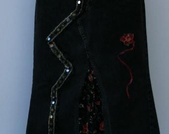 Sale Distressed black Levis Jeans skirt corduroy insert reconstructed upcycled Hippie Bohemian M Medium 10 Denim, Hippie maxi skirt, BoHo