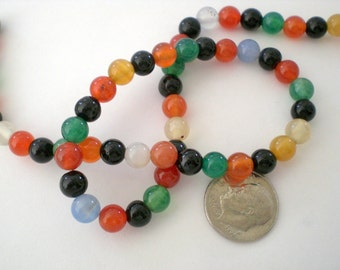 Sale Destash agate 6mm beads, 15 inch strand multi color agate beads