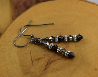 BLACK SMOKE Les Petite Cristaux Swarovski crystals handcrafted earrings gorgeous and still affordable