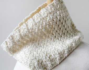 Knit Scarf for Men or Women, Hand Knit Merino Wool Neckwarmer Cowl Gaiter, Ivory or Charcoal, Hygge