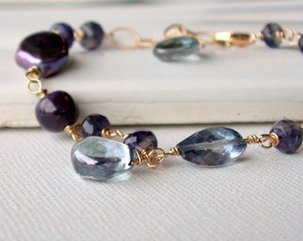 Midnight Gemstone Bracelet. Black pearl, blue quartz, iolite.