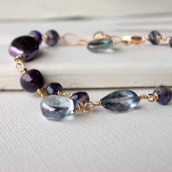 Midnight Gemstone Bracelet. Black pearl, blue quartz, iolite.