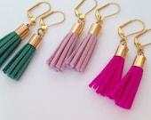 Suede tassel earrings, ready to ship,  fringe earrings, preppy earrings, statement earrings, gold tassel earrings, Pantone Rose