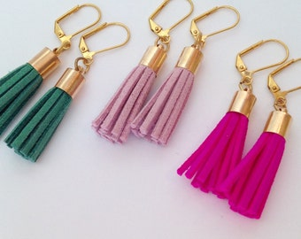 Suede tassel earrings, fringe earrings, preppy earrings, statement earrings, gold tassel earrings, Pantone Rose