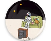 Funny Pin Back Button Astronaut Brave Moonman 3d Glasses Space Cat Magnet Cute Pin Badge
