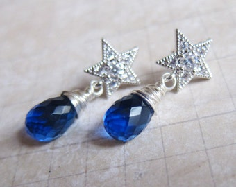 O Holy Night 2015 - Cubic Zirconia, Cobalt Blue Hydro Quartz, and Sterling Silver Star Earrings