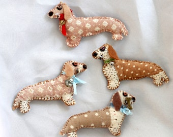 Pick-A-Doxie Miniature Dachshund Quilty Critter Magnets - OOAK, Novelty, Gift, Folk Art