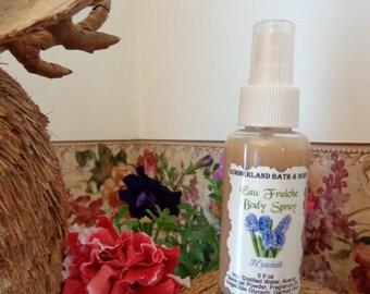 SALE 3 fl oz Eau Fraiche Body Spray, Hyacinth,with Acacia Gum