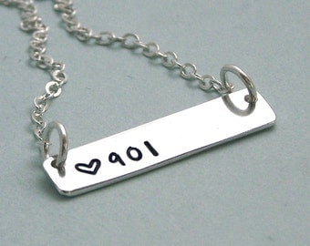 901 Trendy Bar  Necklace - Sterling Silver Hand Stamped Necklace - I love Memphis - I love Tennessee - Long Distance Relationship