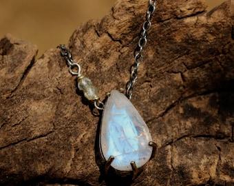 Dainty teardrop prong set gemstone on oxidized silver chain