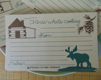 SALE,Moose Cards, Moose Recipe, Recipe Cards, Artist Handmade, Moose Drawing, Gift For Cook, 10 Card Set, Rustic Moose, Cabin N Moose, Moose