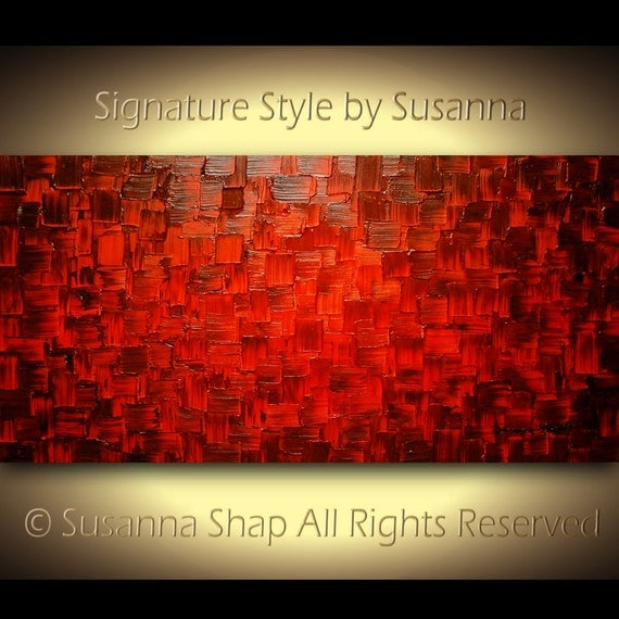Red Original Large Abstract Painting Thick texture Modern Art Oil Painting Home Decor Wall Art Palette Knife Modern Art by Susanna