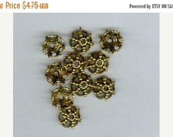 CLEARANCE Set 20 Gold Antique Pewter Bead Caps