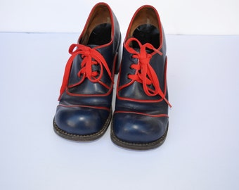 1970s Leather Wood Heel PLATFORM Glam Shoes size 7