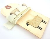 """Handmade Ribbon.  Primitive Sheep Off White Handmade Cotton Twill Ribbon.  3/4"""" or 20 mm wide by 1 Yard or .9 Meters.  On Handmade Tag."""