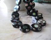 Czech Glass Beads, Polka Dot Beads, Peacock Polka Dot, Black Background, 10mm Beads, Czech Glass, 25 Beads, DeStash Beads, candies64