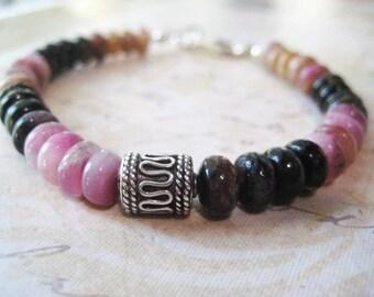 Tourmaline Bracelet, Gemstone Bracelet, Sterling Silver, Tourmaline Rondelles, Genuine Tourmaline, Pink Black Gold, Bali Bead, Large Clasp