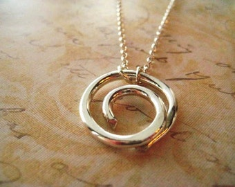 Swirl Necklace, Statement Necklace, 10 Gauge Wire, Sterling Silver, Rolo Chain, Hand Forged, womens jewelry, Minimalist Necklace, candies64