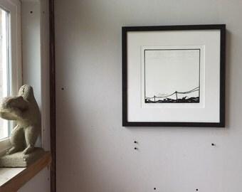 Look up  - a woodcut print by Chris Plummer