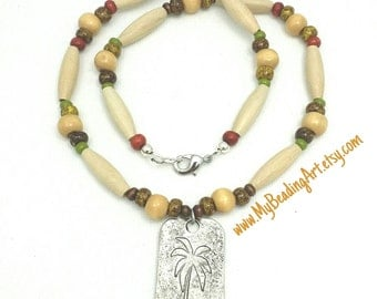 Boys Necklace, Palm Tree pendant, Boys Beach Necklace, Wood Bead Necklace Teen Boy, Teens Palm Tree Necklace, Beach Jewelry