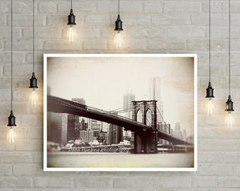 Brooklyn Bridge Photo // Sepia New York Photo // Large Art // Urban Home Decor // Office Wall Art // Fine Art Travel Photography