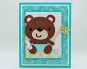 Teddy Bear It's a Boy New Baby Congratulations Card, Baby Shower Card With Matching Envelope
