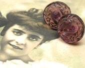 1910s BUTTON earrings, Edwardian Purple glass FLOWERS on sterling silver posts. One of a kind jewellery.