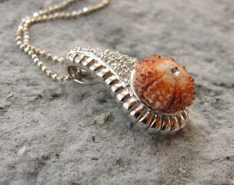 Sterling Silver Urchin Necklace with Cubic Zircon Orange Sea Urchin Sterling Silver Necklace One of a Kind