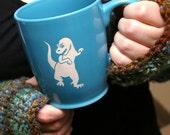 T-Rex Dinosaur Mug - Sky Blue - large ceramic coffee cup