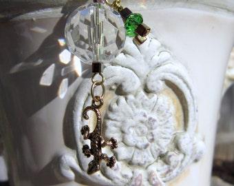 Rearview Mirror Jewelry Charm Car Feng Shui Gecko Lizard Lime Green