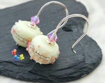 Earrings with Lampwork Beads Primrose Blossoms