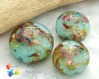 Lampwork Beads Water Nymph Glamour Lentils .. PER BEAD